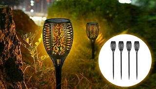 4-Pack of Flickering Flame Effect Garden Solar Lamps