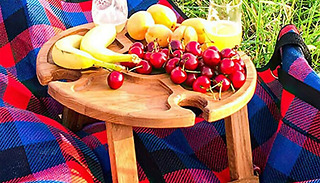 Mini Folding Wooden Picnic Table with Glass Rack