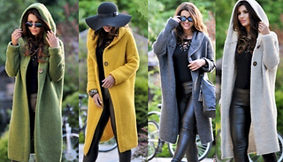 Hooded Chunky Knit Coat - 4 Colours & 5 Sizes