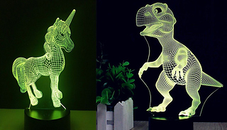 3D Unicorn or Dinosaur Colour Changing LED Light