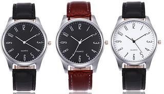 Men's Quartz Classic Faux Leather Watch - 4 Colours