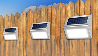White or Yellow LED Waterproof Solar-Powered Fence Lights - 4, 6 or 12 ...