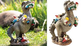 Dinosaur Eating Gnomes Statue - 2 Sizes
