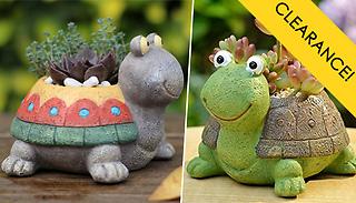 1 or 2 Happy Tortoise Mini Succulent Planter Pots - 2 Colours
