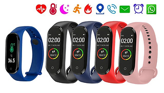 M4 Pro Bluetooth Thermometer & Heart Rate Smart Wristband - 5 Colours