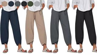 Women's Casual Tulip Hem Elastic Waist Trousers - 6 Colours & 5 Sizes