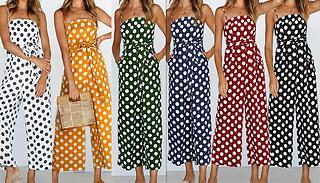 Polka-Dot Strap Jumpsuit - 6 Colours & 4 Sizes
