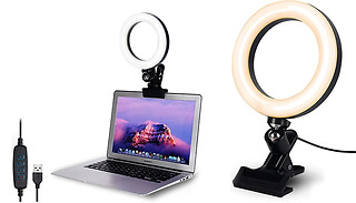 6-Inch USB Ring Light with Clip Base