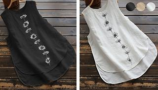 Sleeveless Round Neck Daisy Vest - 3 Colours & 5 Sizes