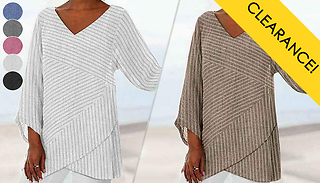 Striped V-Neck Loose Fit Top - 6 Colours & 8 Sizes