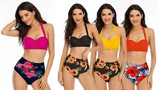 Bikini Top & High-Waisted Floral Bottoms Swim Set - 4 Colours & 5 Size ...