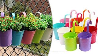 Multicolour Metal Hanging Flower Pots - 5 or 10 Pots