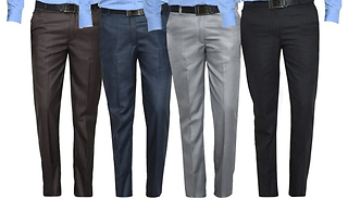 3-Pack of Mens Formal Trousers - 4 Colours & 6 Sizes