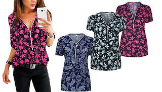 V-Neck Floral Print Blouse - 3 Colours & 5 Sizes
