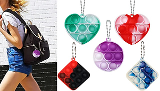3-Pack Silicone Push-It Bubble Keychain - 5 Colours