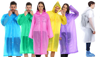 2-Pack of Reusable Rain Ponchos with Hood - 6 Colours