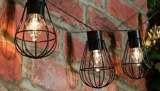 10-LED Solar Powered Retro Iron Bulb String Lights