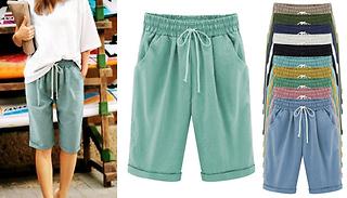 Women's Casual Longline Elastic Waist Shorts - 10 Colours & 5 Sizes
