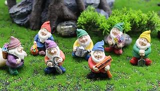 7-Piece Mini Garden Gnome Statue Set