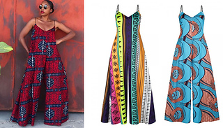Printed V-Neck Strappy Wide Leg Jumpsuit - 3 Colours & 4 Sizes