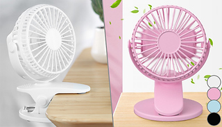 360-Rotating Desk Fan with Clip-On Base - 4 Colours
