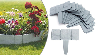 10, 20 or 40-Pack of Grey Cobbled Stone Effect Garden Edging