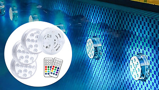 Waterproof Suction LED Bath Light With Remote - 1, 2 or 4-Pack