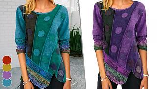 Boho Printed Irregular Hem Shirt - 4 Colours & 5 Sizes