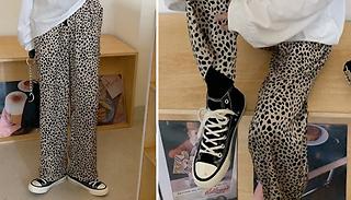 Animal-Print Wide Leg Trousers