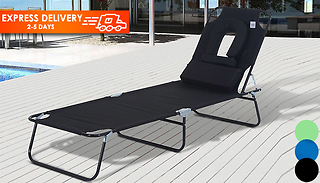 Adjustable Tanning Sun Lounger With Pillow - 3 Colours