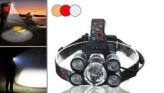 Power 5-LED Headlamp with Adjustable Zoom - 3 Colours