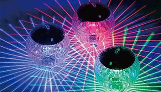 Floating Colour-Change Solar Pool Light - 1 or 2 Lights