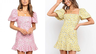 Puff Sleeve Square Neck Print Dress - 2 Colours & 4 Sizes