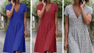 Short Sleeve Floral Dress - 3 Colours & 4 Sizes