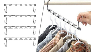 4-Pack of Magic Metal Space-Saving Clothes Hangers