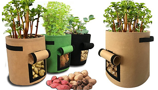Fabric Vegetable Grow Bag with Harvesting Window - 3 Colours & 3 Sizes
