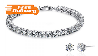7ct Simulated Sapphire Tennis Bracelet with FREE Earrings!
