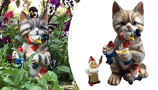 Naughty Gnome-Eating Cat Garden Ornament