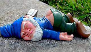 Mini Drunk Laying Down Garden Gnome Statue
