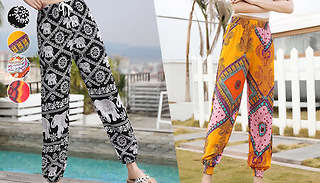 Printed Harem Trousers - 4 Colours & 4 Sizes