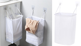 Wall-Hanging Laundry Basket With Hooks