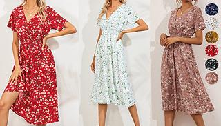 Midi Wrap-Over Short Sleeve Summer Dress - 7 Colours & 3 Sizes