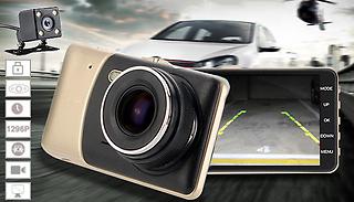 Falcon-Cam HD Front & Rear Dash Cam With Parking & Collision Sensor