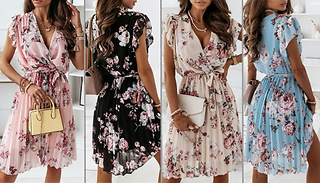 Floral Print Wrap Over Pleated Formal Dress - 4 Colours & 4 Sizes