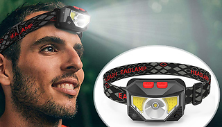 USB Headband Lamp Torch With Red Light & Motion Sensor - 1 or 2-Pack