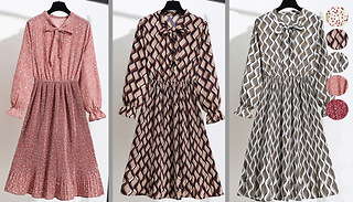 Chiffon Long-Sleeve Floral Floaty Dress - 6 Colours & 3 Sizes
