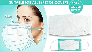 100 x Disposable 3-Layer Face Cover Filter Pads