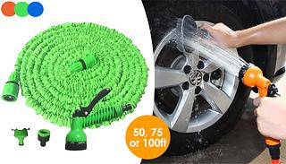 50, 75 or 100ft Expanding Garden Spray Hose - 3 Colours