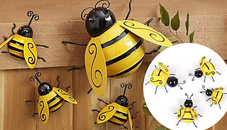 4-Piece Metal Bee Garden Wall Decoration Set - 1 or 2 Sets