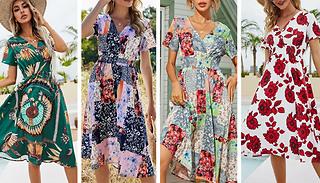 Floral Short-Sleeve Sundress - 4 Colours & 3 Sizes